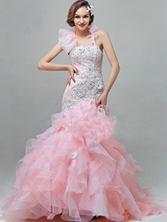 Mermaid Tube Top Sweep Train Organza Appliques Ruffle Prom Dresses