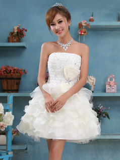 Princess Tube Top Short Organza Flower Tiered Homecoming Dresses