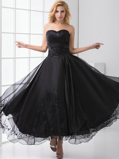 A-line Sweetheart Ankle-length Organza Crystal Beading Prom Dresses
