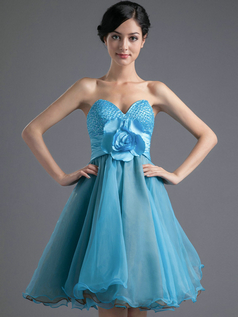 A-line Sweetheart Short Organza Sequin Flower Homecoming Dresses