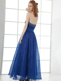 A-line Sweetheart Ankle-length Organza Sequin Beading Prom Dresses