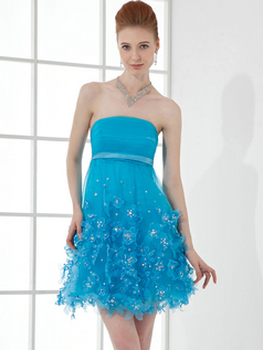A-line Strapless Short Organza Beading Sequin Cocktail Dresses