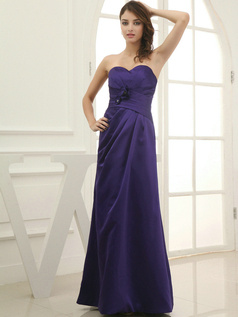 Amazing Sheath/Column Satin Floor-length Flower Bridesmaid Dresses