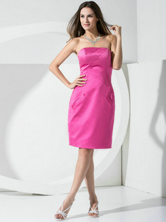 Noble Sheath Satin Tube Top Pockets Bridesmaid Dresses