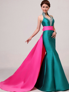 Mermaid Stand Collar Brush Train Satin Flower Crystal Prom Dresses