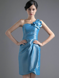 Column One Shoulder Short Satin Flower Homecoming Dresses