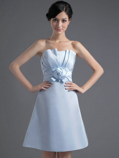 A-line Scalloped-edge Strapless Short Satin Flower Homecoming Dresses