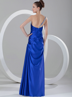 Over Hip One Shoulder Floor-length Satin Crystal Evening Dresses