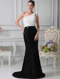 Perfect Mermaid/Trumpet Sequined One shoulder Flower Prom Dresses