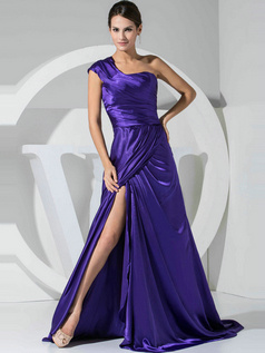 Beautiful A-line Stretch Satin One shoulder Split Front Prom/Evening Dresses