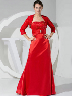 Gorgeous A-line Stretch Satin Floor-length Crystal Prom Dresses