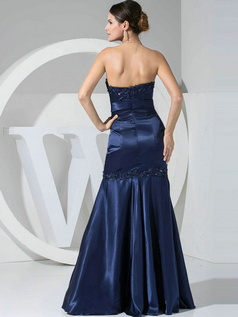 Astonishing Mermaid/Trumpet Stretch Satin Strapless Floor-length Prom Dresses