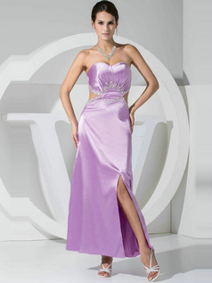 Sexy Sheath/Column Stretch Satin Sweetheart Split Front Prom Dresses