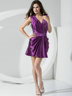 Magnificent Sheath Stretch Satin Straps Sashes/Ribbons Cocktail Dresses