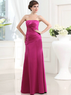Noble Sheath/Column Stretch Satin Tube Top Floor-length Evening Dresses
