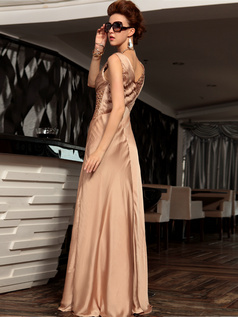 Sheath Straps Floor-length Stretch Satin Sequin Prom Dresses With Wrap Pleats
