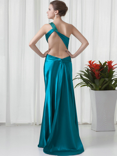 Over Hip One Shoulder Brush Train Stretch Satin Backless Prom Dresses With Beading