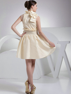 Appealing A-Line Taffeta High neck Bowknot Homecoming Dresses