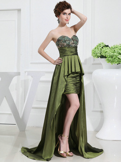 Incomparable Sheath/Column Taffeta Sweetheart Asymmetrical Train Prom Dresses