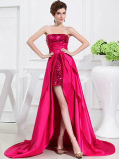 Spectacular Sheath/Column Taffeta Tube Top Sequin Prom Dresses