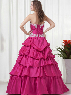 A-line Sweetheart Floor-length Taffeta Short Sleeve Crystal Quinceanera Dresses With Jacket