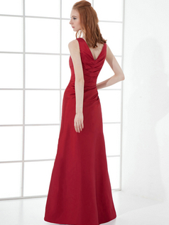 Over Hip Straps Floor-length Taffeta Side-draped Evening Dresses