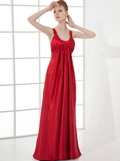 Column Scoop Straps Floor-length Taffeta Beading Draped Prom Dresses