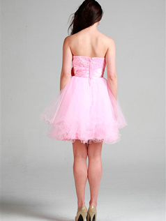 Lovely Princess Tulle Sweetheart Flower Homecoming/Sweet 16 Dresses