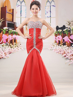 Perfect Mermaid/Trumpet Sweetheart Floor-length Tulle Prom Dresses
