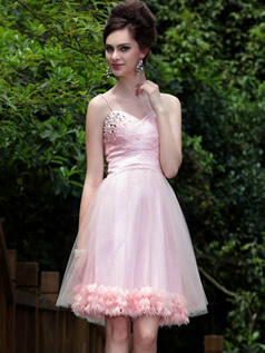 Beautiful A-line Spaghetti Straps Knee-length Flower Cocktail/Prom Dresses