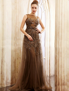 Stunning A-line Tulle Bateau Sequin Evening/Prom Dresses