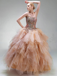 Ball Gown Tube Top Floor-length Tulle Embroidery Ruffle Prom Dresses