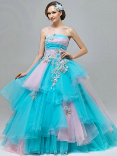 Ball Gown Tube Top Floor-length Tulle Cascading Ruffle Prom Dresses
