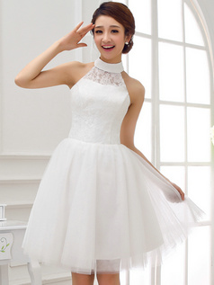 Princess Halter Mini Tulle Lace Homecoming Dresses