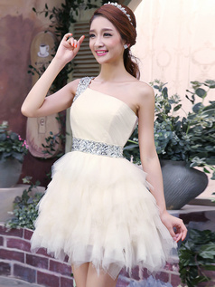Princess One Shoulder Short Tulle Sequins Ruffle Homecoming Dresses