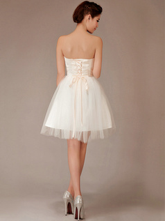 Ball Gown Tube Top Mini Tulle Beading Rhinestone Homecoming Dresses
