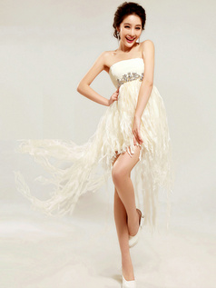 Princess Tube Top Short Tulle Tassels Homecoming Dresses