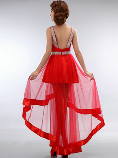 A-line V-neck High Low Tulle Sequin Homecoming Dresses