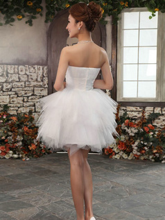 Ball Gown Sweetheart Mini Tulle Beading Ruffle Rhinestone Homecoming Dresses