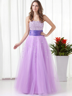 A-line Strapless Floor-length Tulle Crystal Sequin Prom Dresses