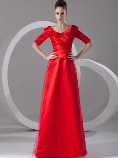 A-line V-neck Floor-length Tulle Side-draped Evening Dresses