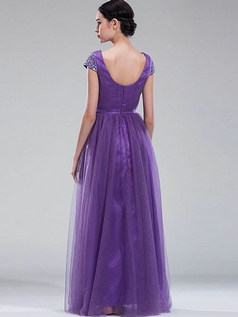 Column Bateau Floor-length Tulle Crystal Beading Draped Prom Dresses With Sequin