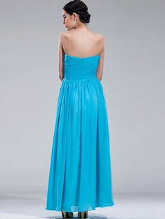 Column Sweetheart Ankle-length Chiffon Flower Crystal Evening Dresses With Sequin