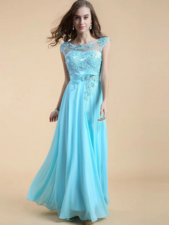 Column Bateau Floor-length Chiffon Beading Appliques Evening Dresses With Sequin