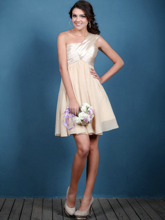 Lovely A-line One shoulder Short/Mini Draped Bridesmaid Dresses