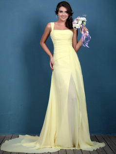 Fantastic A-line Chiffon One shoulder Sweep Bridesmaid Dresses