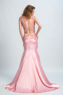 Sheer Back Appliques Beading Mermaid Prom Dresses