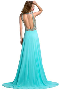 Shining Long Formal Beading Crystal Backless Split-Front Prom Dresses