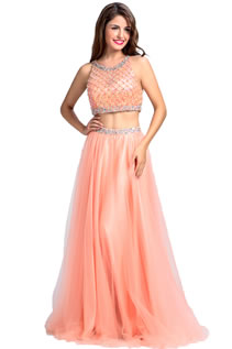 Fancy Long Scoop Neck Beading Sequins Two Piece Prom Dresses