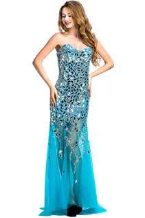 Women Luxuy Sweetheart Beading Lace-UP Column Prom Dresses